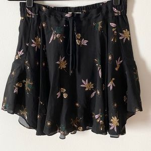 ALC Black Floral Skirt